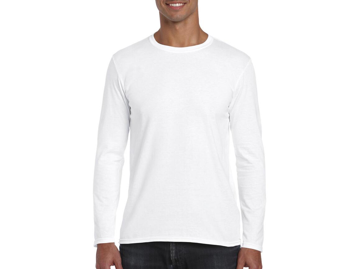 Gildan Softstyle® Long Sleeve Tee, White, S bedrucken, Art.-Nr. 107090003