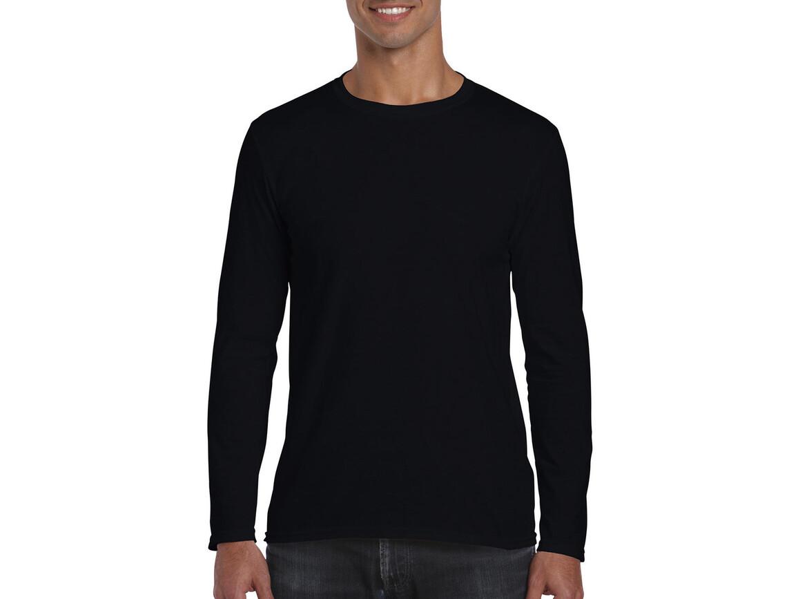 Gildan Softstyle® Long Sleeve Tee, Black, XL bedrucken, Art.-Nr. 107091016