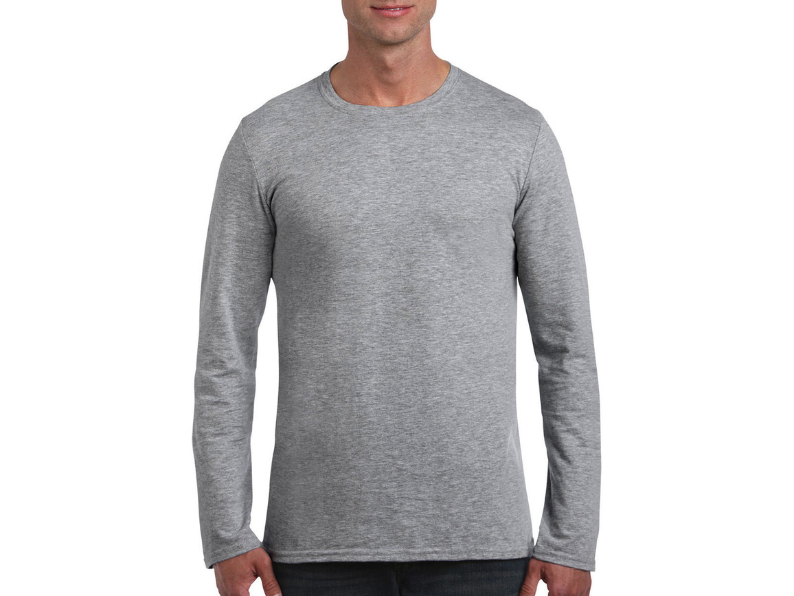 Gildan Softstyle® Long Sleeve Tee, Sport Grey, L bedrucken, Art.-Nr. 107091255