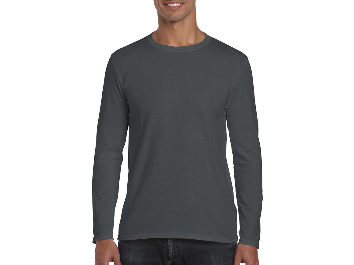Gildan Softstyle® Long Sleeve Tee, Charcoal, S bedrucken, Art.-Nr. 107091303