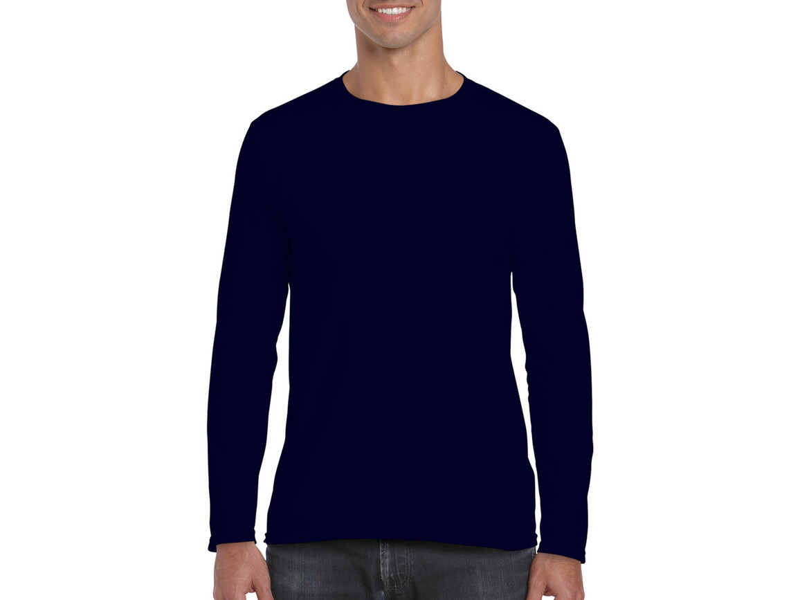 Gildan Softstyle® Long Sleeve Tee, Navy, S bedrucken, Art.-Nr. 107092003