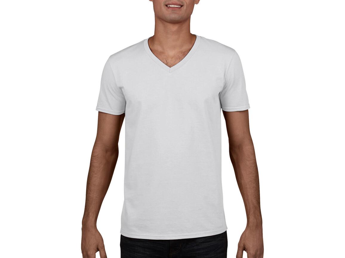 Gildan Gildan Mens Softstyle® V-Neck T-Shirt, White, XL bedrucken, Art.-Nr. 108090006