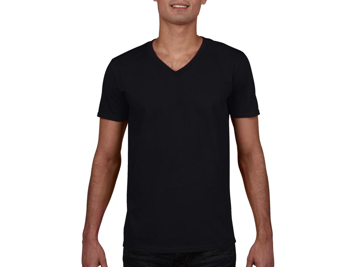 Gildan Gildan Mens Softstyle® V-Neck T-Shirt, Black, 2XL bedrucken, Art.-Nr. 108091017