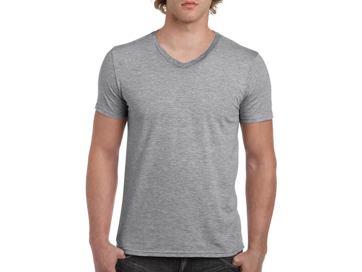 Gildan Gildan Mens Softstyle® V-Neck T-Shirt, Sport Grey, M bedrucken, Art.-Nr. 108091254