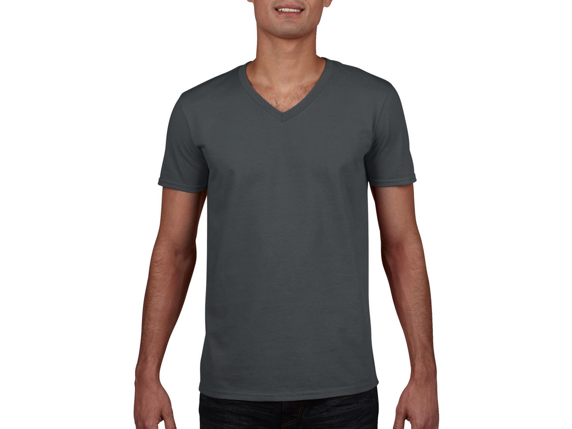 Gildan Gildan Mens Softstyle® V-Neck T-Shirt, Charcoal, S bedrucken, Art.-Nr. 108091303