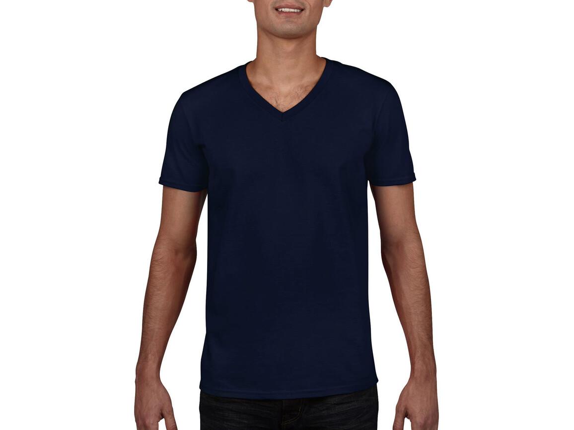 Gildan Gildan Mens Softstyle® V-Neck T-Shirt, Navy, L bedrucken, Art.-Nr. 108092005