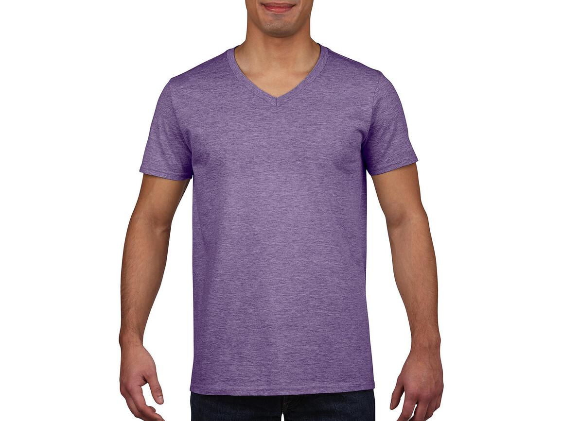 Gildan Gildan Mens Softstyle® V-Neck T-Shirt, Heather Purple, M bedrucken, Art.-Nr. 108093464