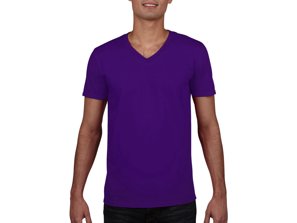 Gildan Gildan Mens Softstyle® V-Neck T-Shirt, Purple, XL bedrucken, Art.-Nr. 108093496