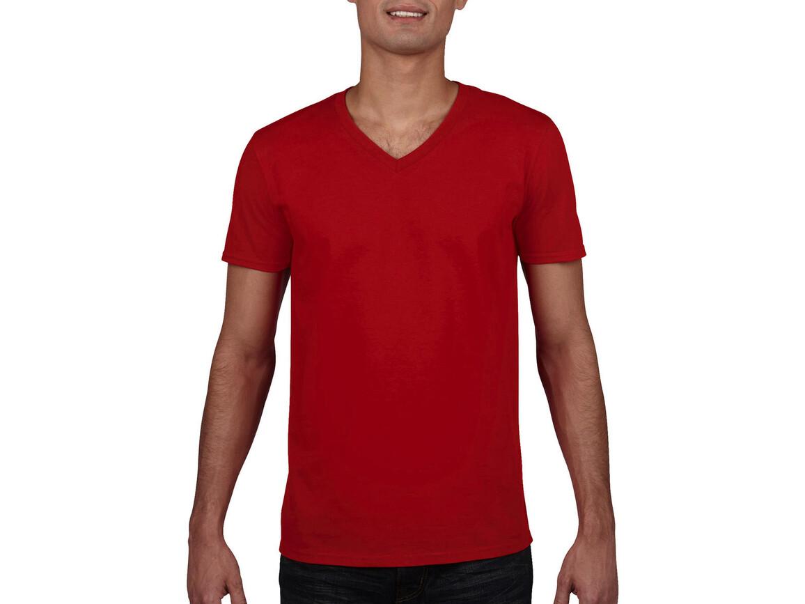 Gildan Gildan Mens Softstyle® V-Neck T-Shirt, Red, L bedrucken, Art.-Nr. 108094005
