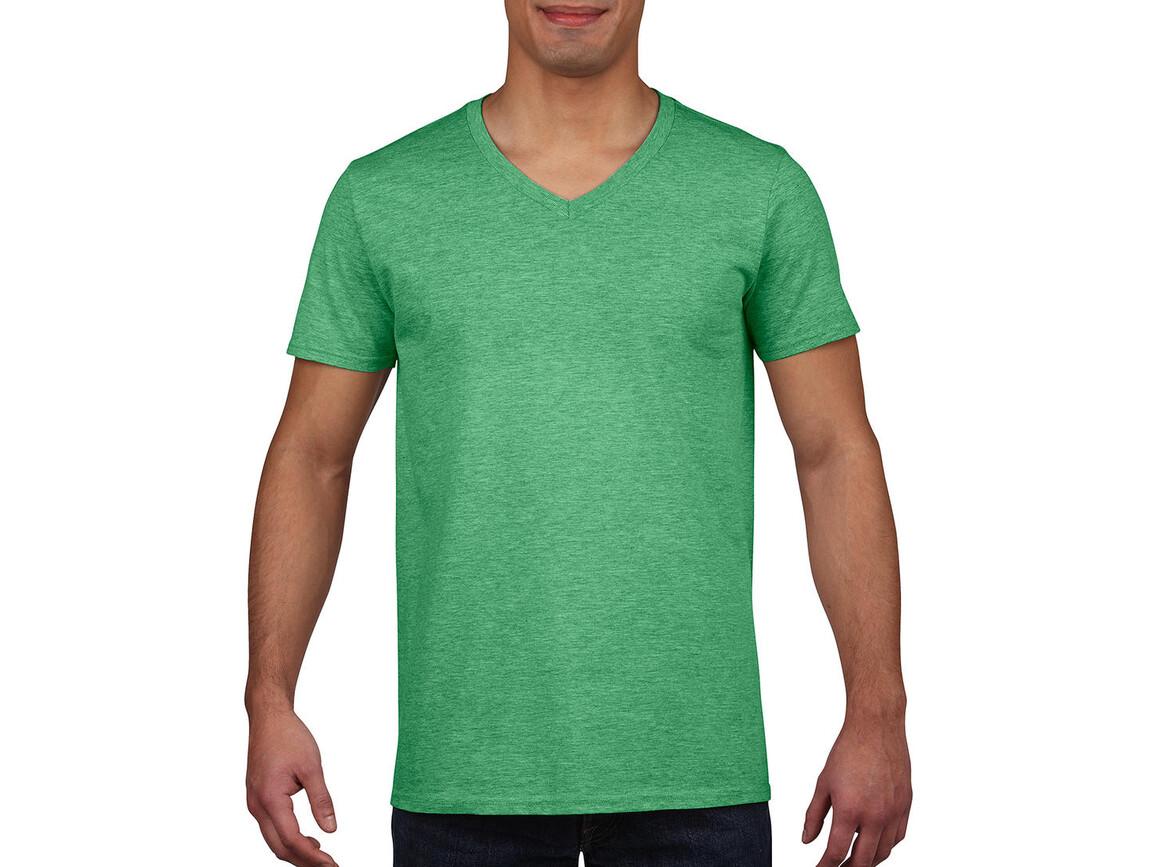 Gildan Gildan Mens Softstyle® V-Neck T-Shirt, Heather Irish Green, S bedrucken, Art.-Nr. 108095133