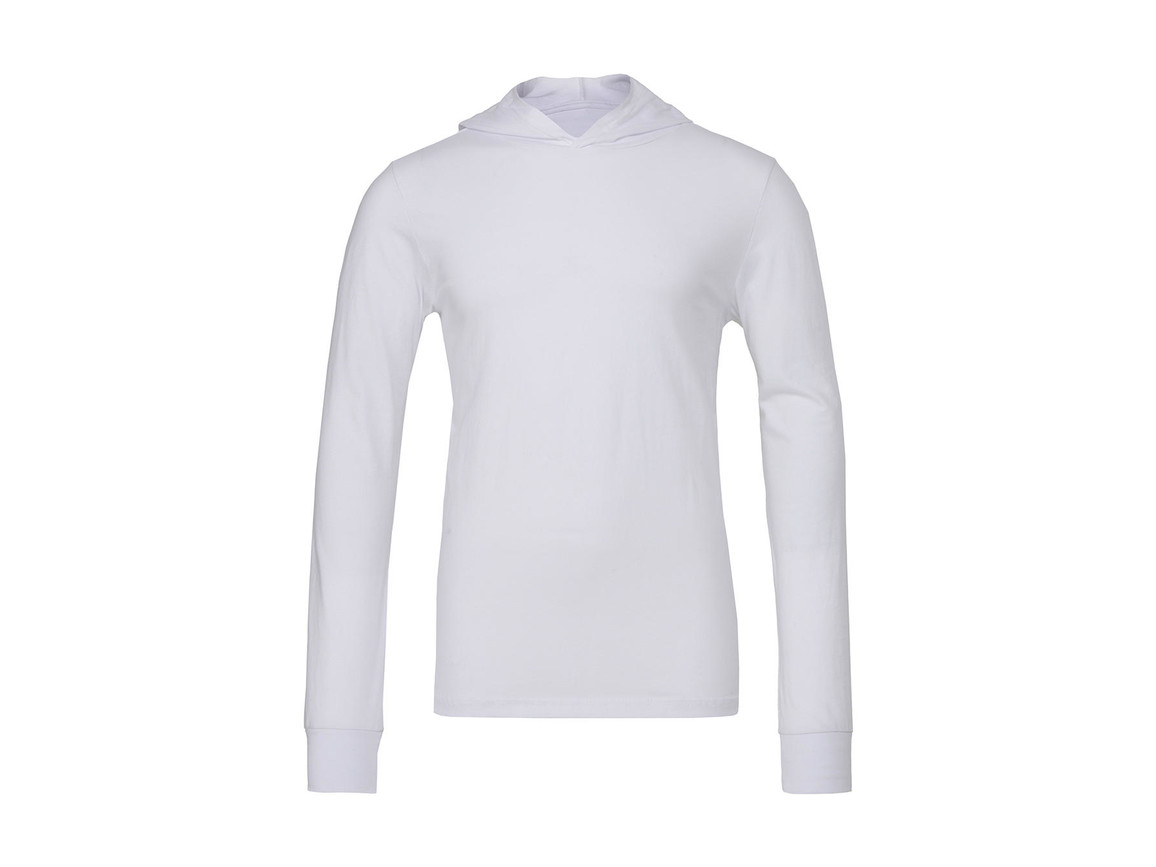 Bella Unisex Jersey LS Hoodie, White, L bedrucken, Art.-Nr. 196060005