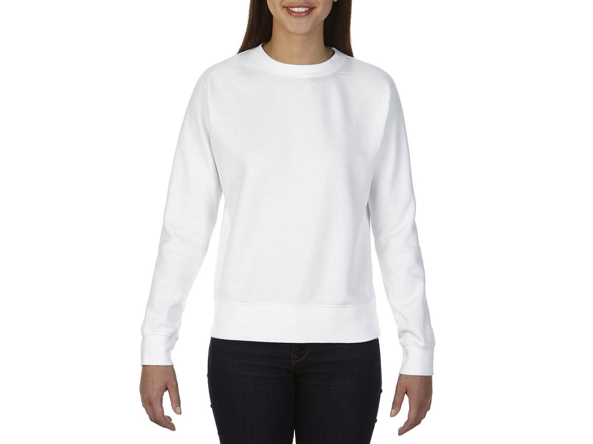 Comfort Colors Ladies` Crewneck Sweatshirt, White, M bedrucken, Art.-Nr. 202030004