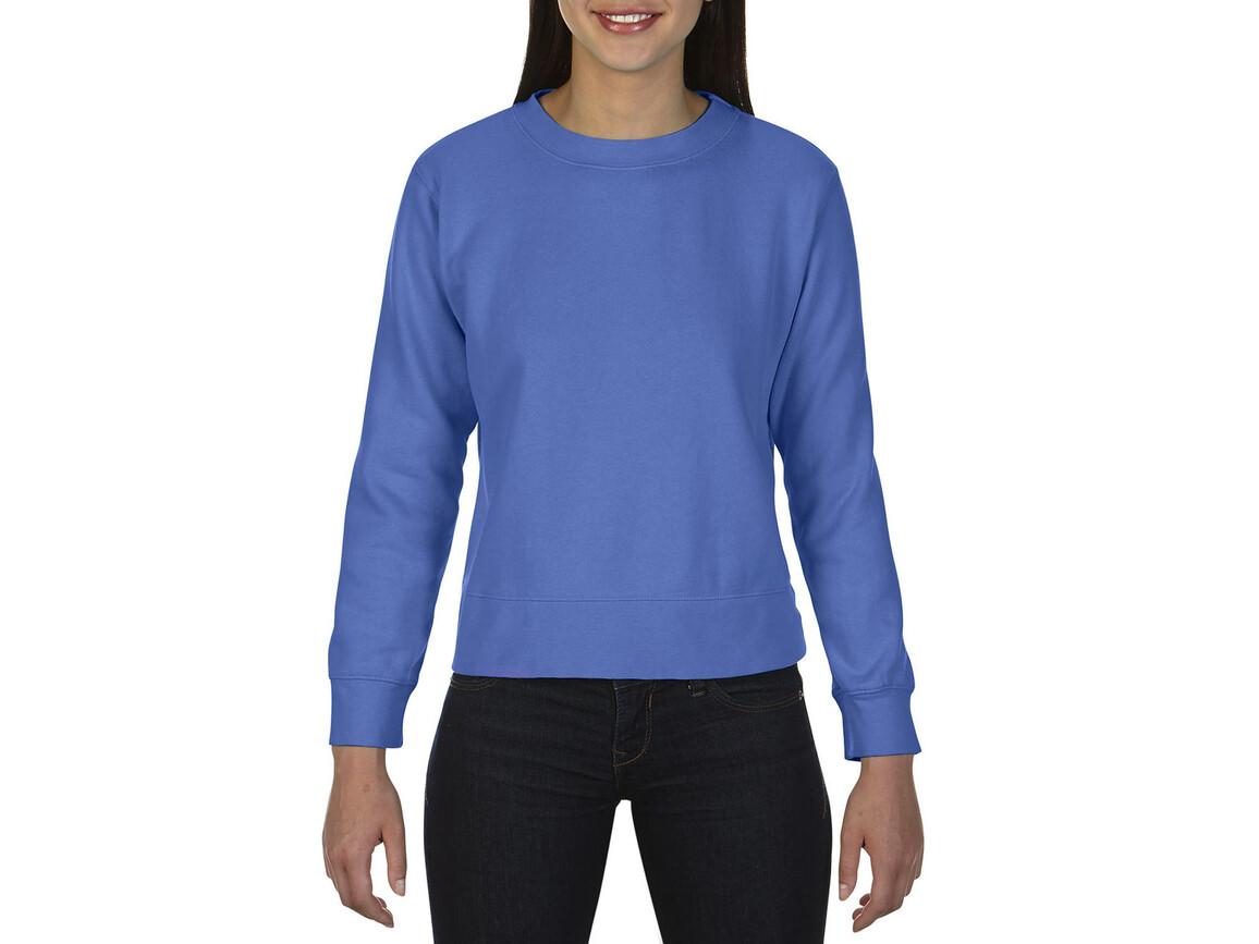 Comfort Colors Ladies` Crewneck Sweatshirt, Flo Blue, M bedrucken, Art.-Nr. 202033224