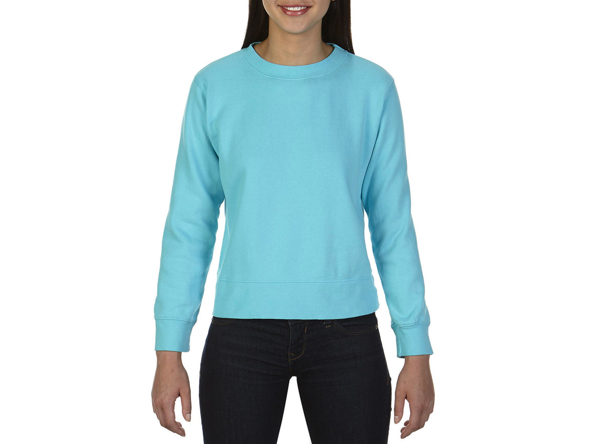 Comfort Colors Ladies` Crewneck Sweatshirt, Lagoon Blue, 2XL bedrucken, Art.-Nr. 202033237