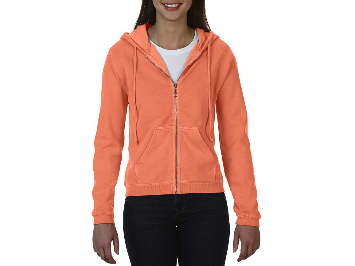 Comfort Colors Ladies` Full Zip Hooded Sweatshirt, Melon, XL bedrucken, Art.-Nr. 204034116