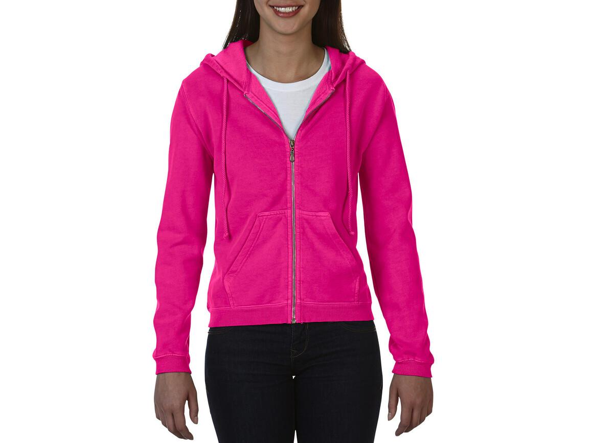 Comfort Colors Ladies` Full Zip Hooded Sweatshirt, Neon Pink, S bedrucken, Art.-Nr. 204034443