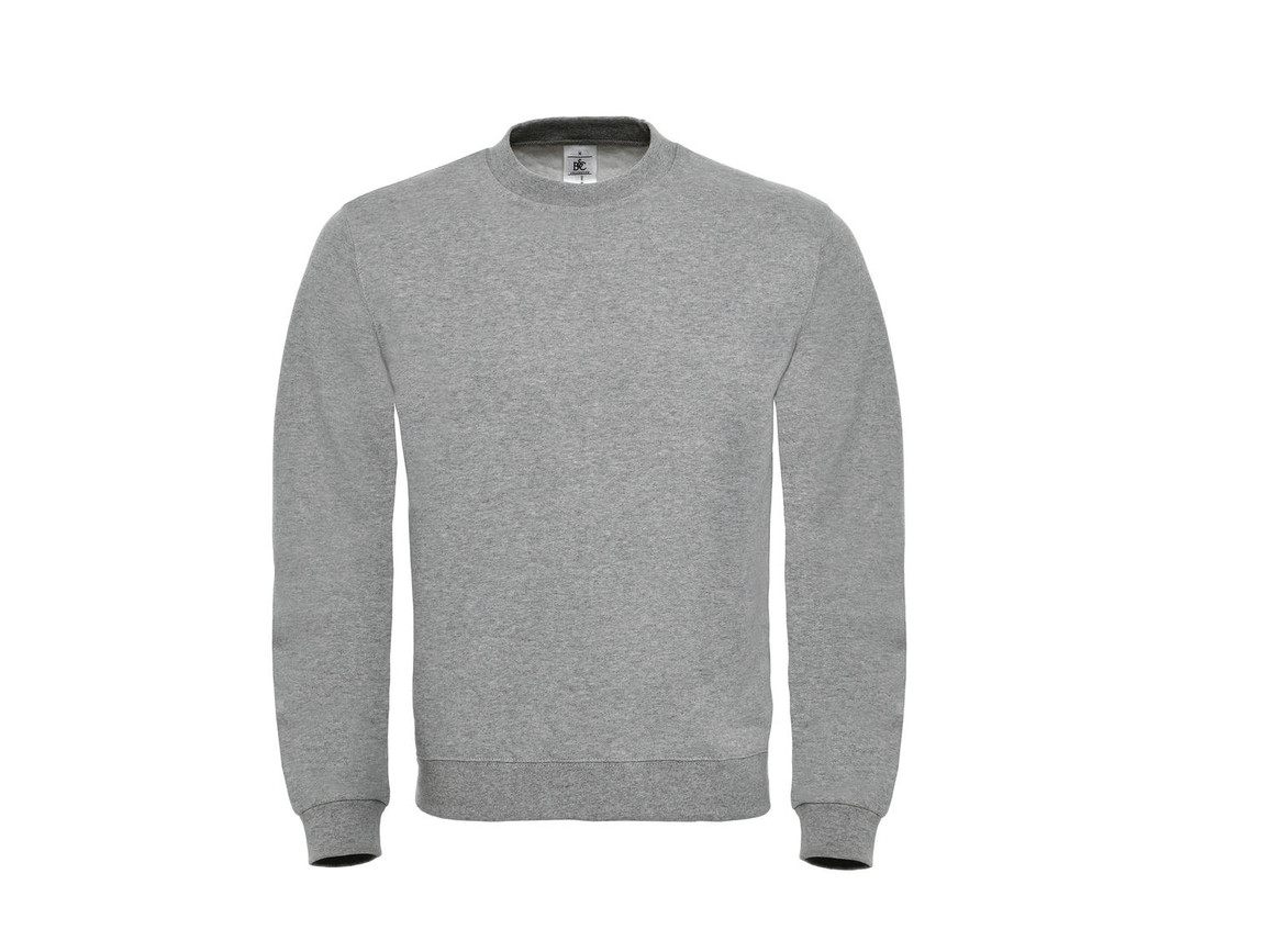 B & C ID.002 Cotton Rich Sweatshirt, Heather Grey, 3XL bedrucken, Art.-Nr. 215421238