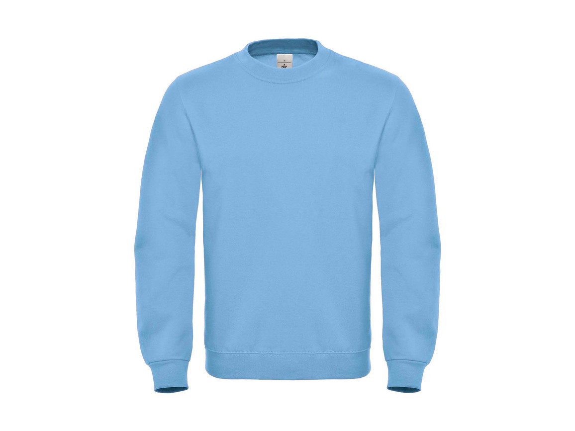 B & C ID.002 Cotton Rich Sweatshirt, Light Blue, M bedrucken, Art.-Nr. 215423224