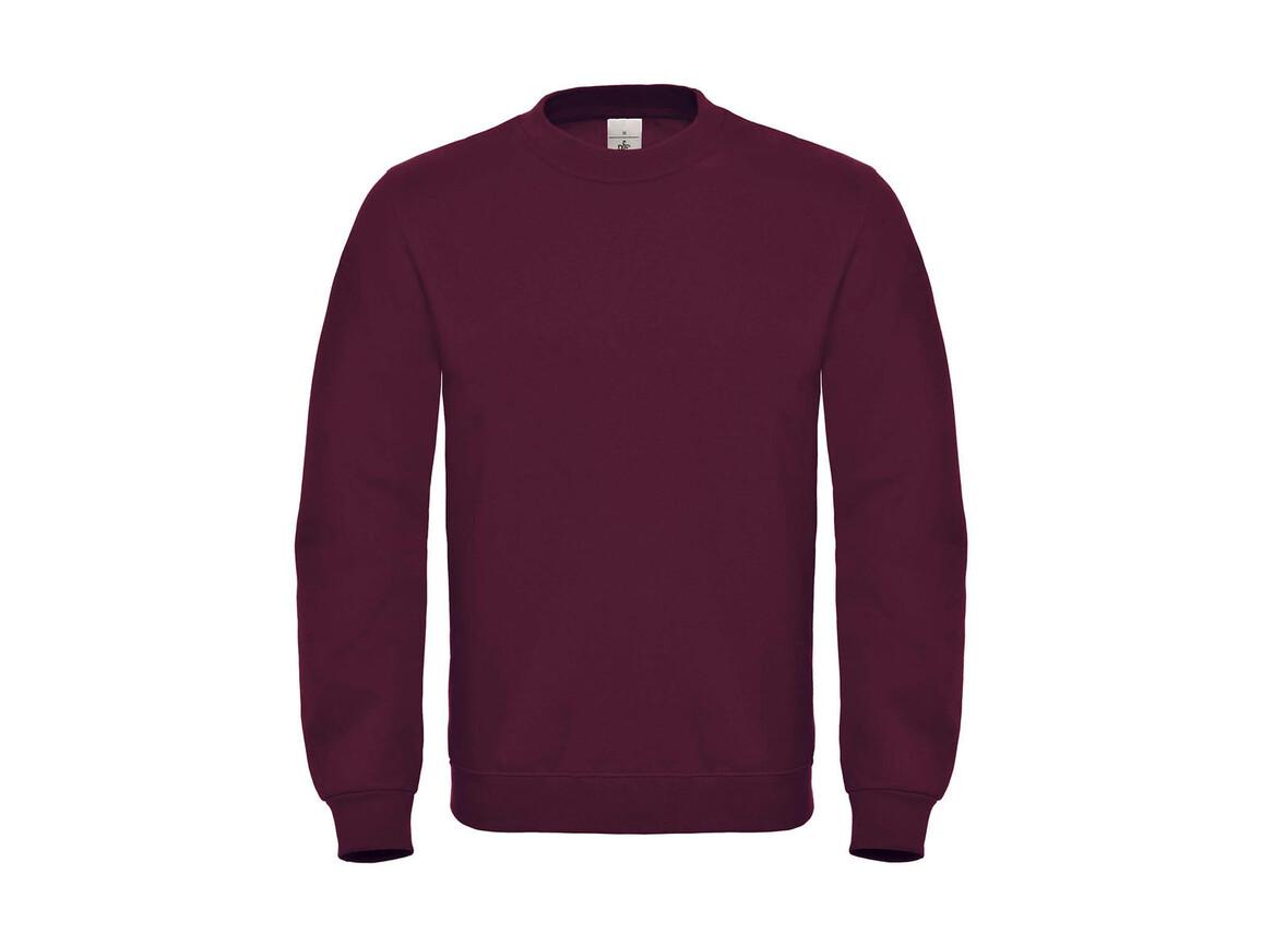 B & C ID.002 Cotton Rich Sweatshirt, Wine, S bedrucken, Art.-Nr. 215424493