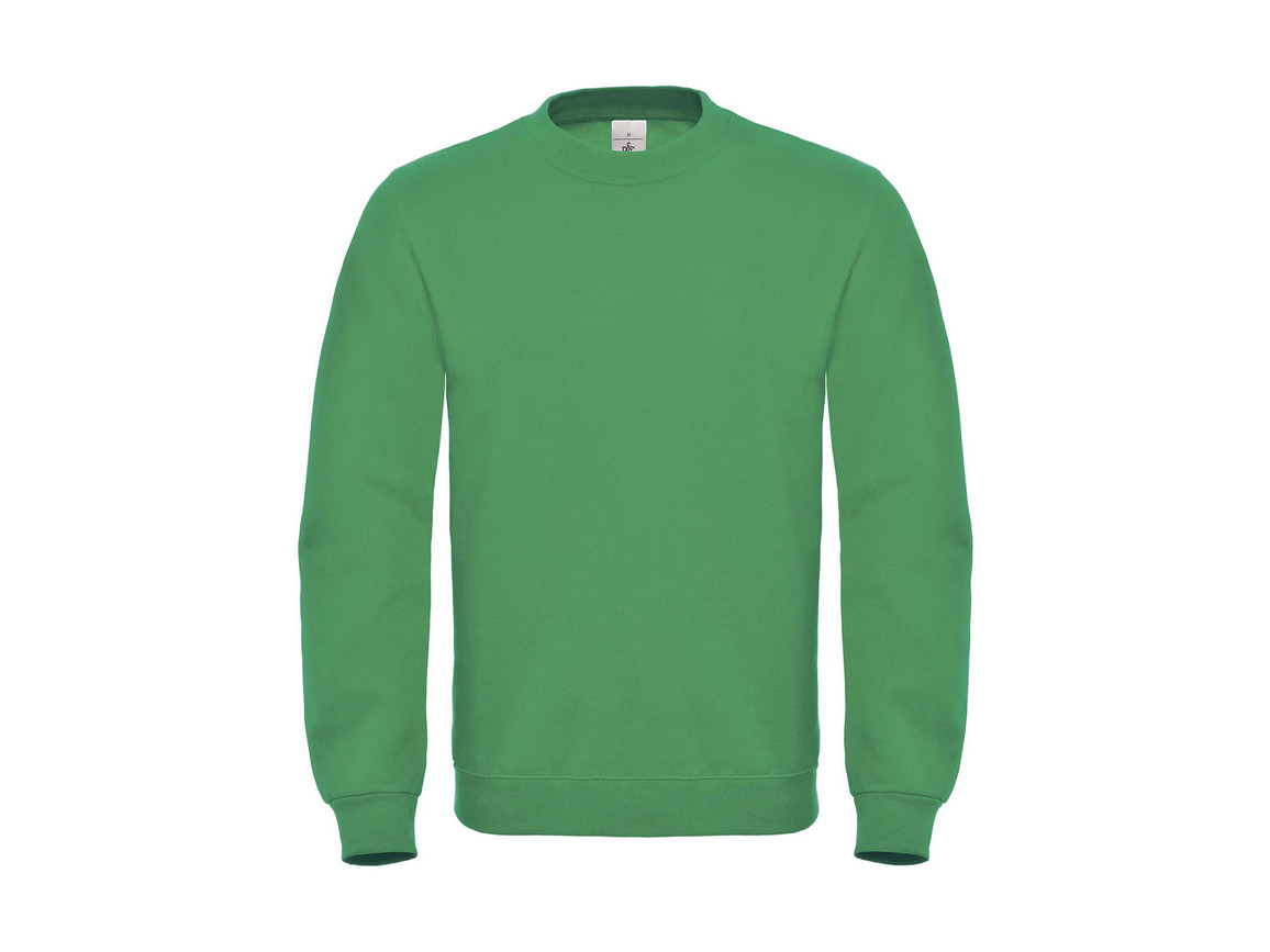 B & C ID.002 Cotton Rich Sweatshirt, Kelly Green, XS bedrucken, Art.-Nr. 215425182
