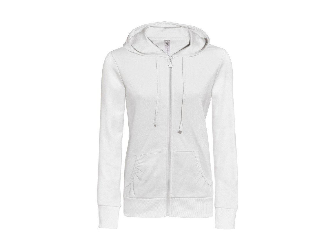 B & C Wonder/women Hooded Zip Sweat, White, M bedrucken, Art.-Nr. 241420004