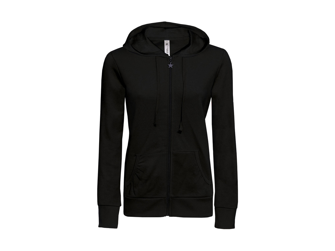 B & C Wonder/women Hooded Zip Sweat, Black, XL bedrucken, Art.-Nr. 241421016
