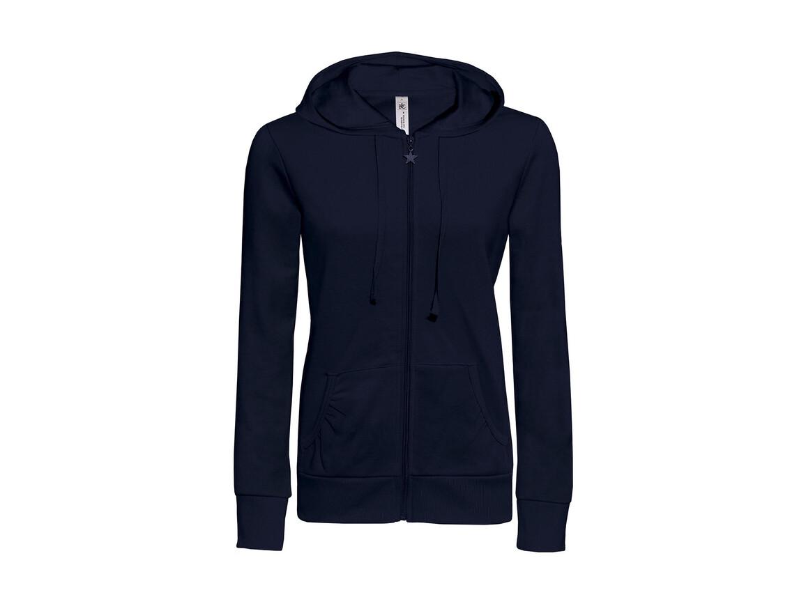 B & C Wonder/women Hooded Zip Sweat, Navy, XL bedrucken, Art.-Nr. 241422006