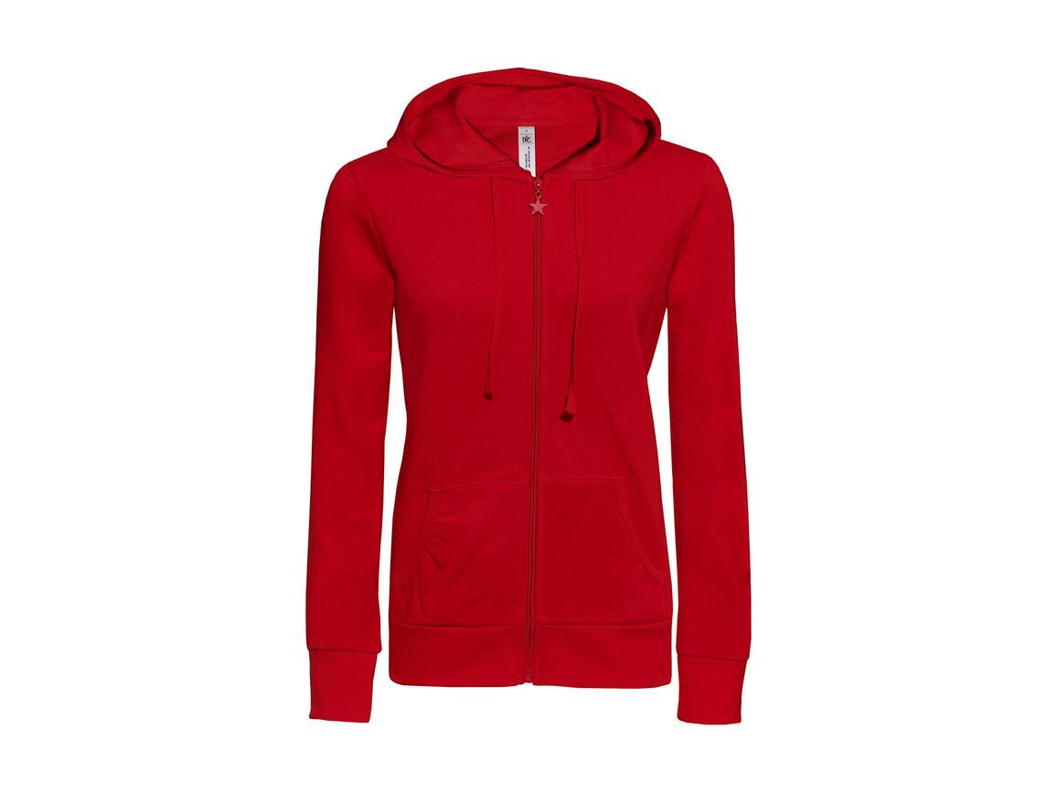 B & C Wonder/women Hooded Zip Sweat, Red, L bedrucken, Art.-Nr. 241424005