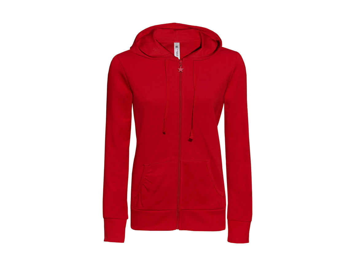B & C Wonder/women Hooded Zip Sweat, Red, XS bedrucken, Art.-Nr. 241424002