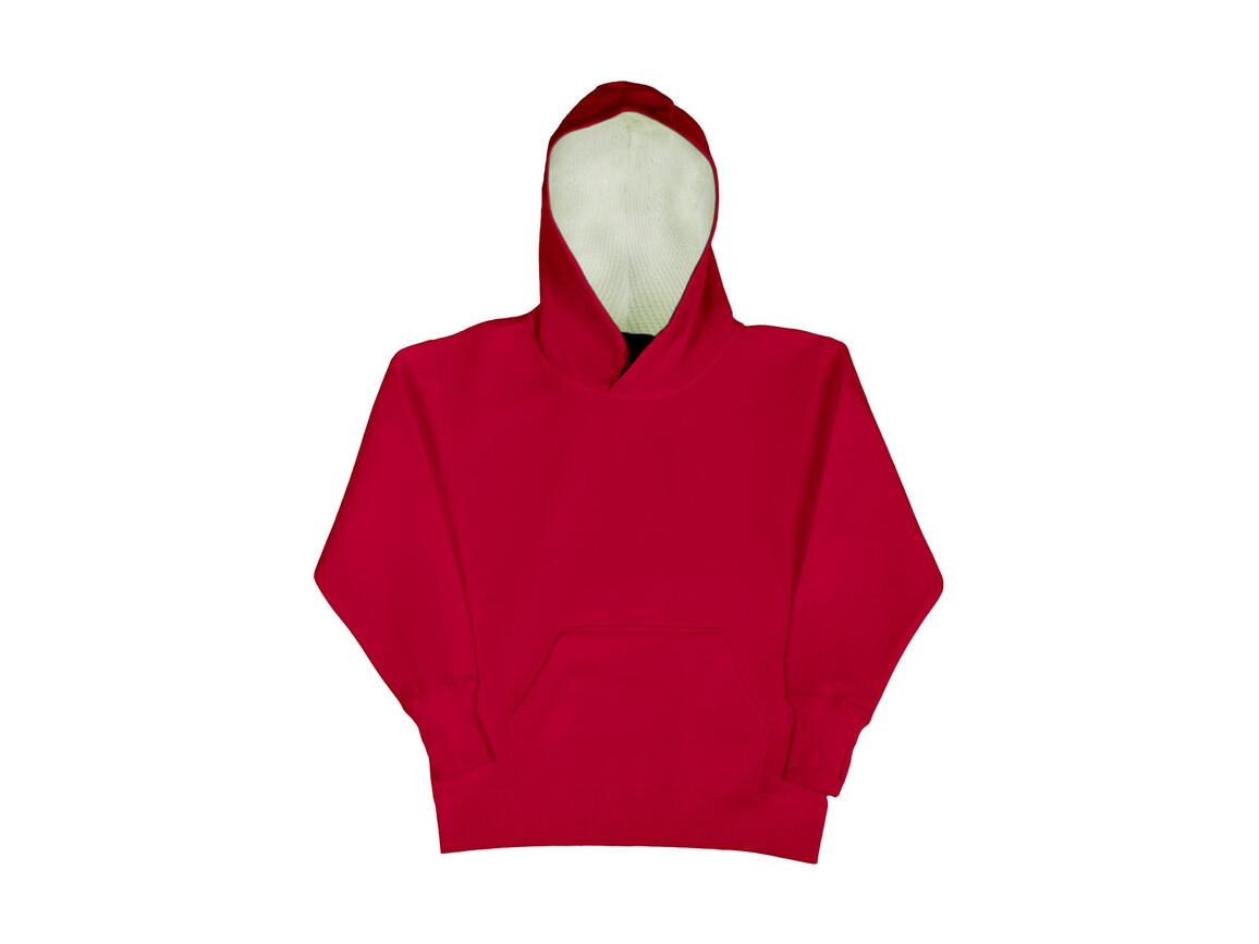 SG Kids` Contrast Hoodie, Red/White, 140 (9-10/XL) bedrucken, Art.-Nr. 280524506