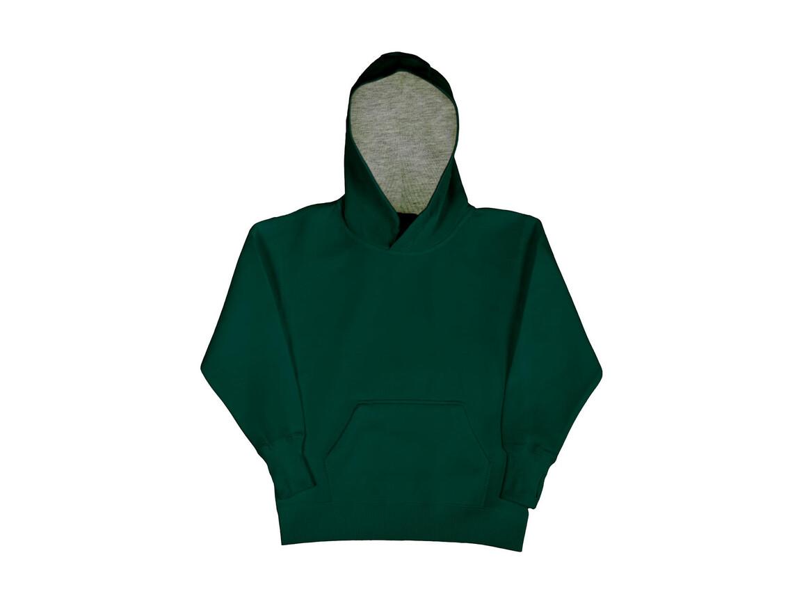 SG Kids` Contrast Hoodie, Bottle Green/Light Oxford, 140 (9-10/XL) bedrucken, Art.-Nr. 280525536