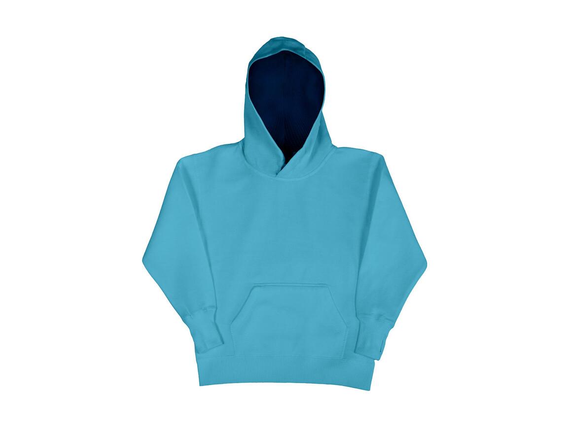 SG Kids` Contrast Hoodie, Turquoise/Navy, 116 (5-6/M) bedrucken, Art.-Nr. 280525664