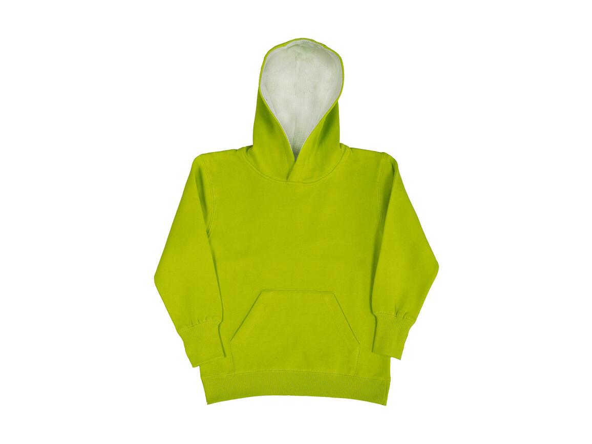SG Kids` Contrast Hoodie, Lime/White, 104 (3-4/S) bedrucken, Art.-Nr. 280525753