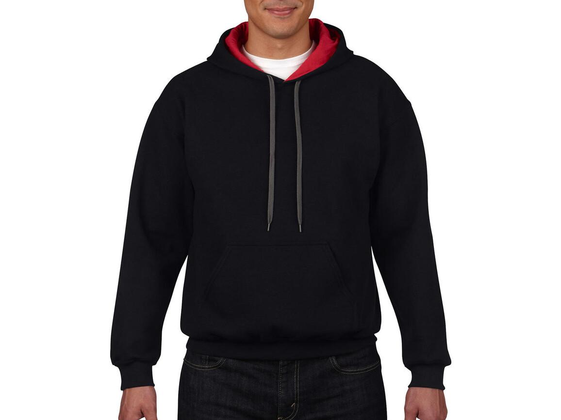 Gildan Heavy Blend Adult Contrast Hooded Sweat, Black/Red, S bedrucken, Art.-Nr. 281091543