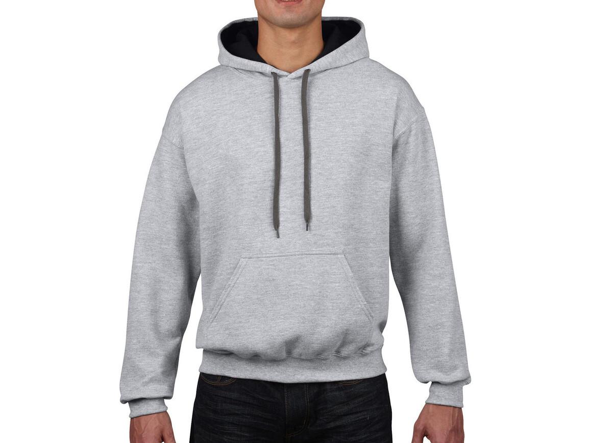 Gildan Heavy Blend Adult Contrast Hooded Sweat, Sport Grey/Black, XL bedrucken, Art.-Nr. 281091726