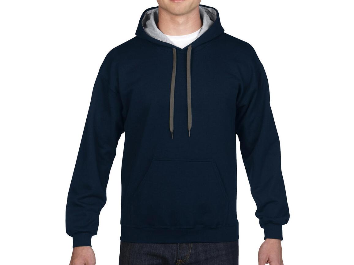 Gildan Heavy Blend Adult Contrast Hooded Sweat, Navy/Sport Grey, M bedrucken, Art.-Nr. 281092514