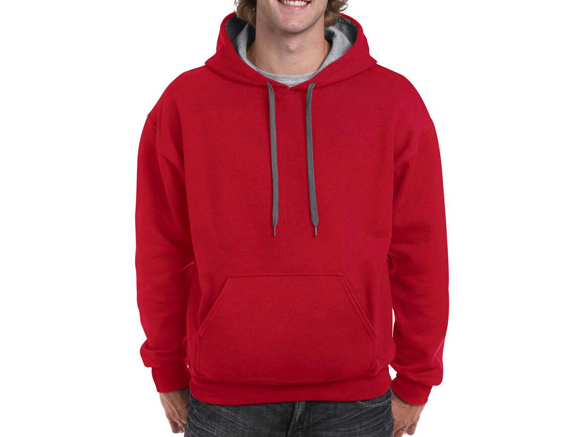 Gildan Heavy Blend Adult Contrast Hooded Sweat, Red/Sport Grey, S bedrucken, Art.-Nr. 281094513