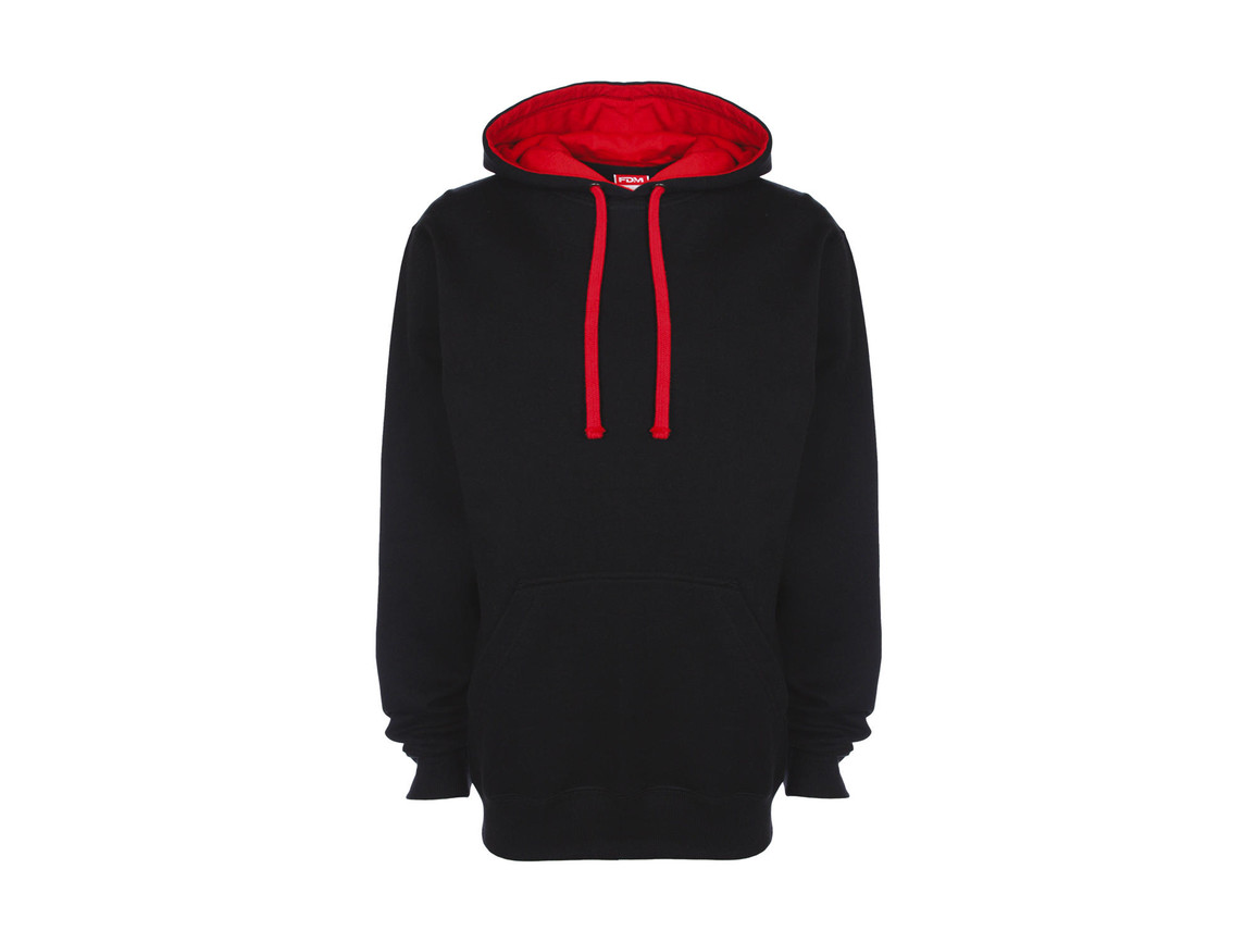 FDM Contrast Hoodie, Black/Fire Red, XS bedrucken, Art.-Nr. 281551542