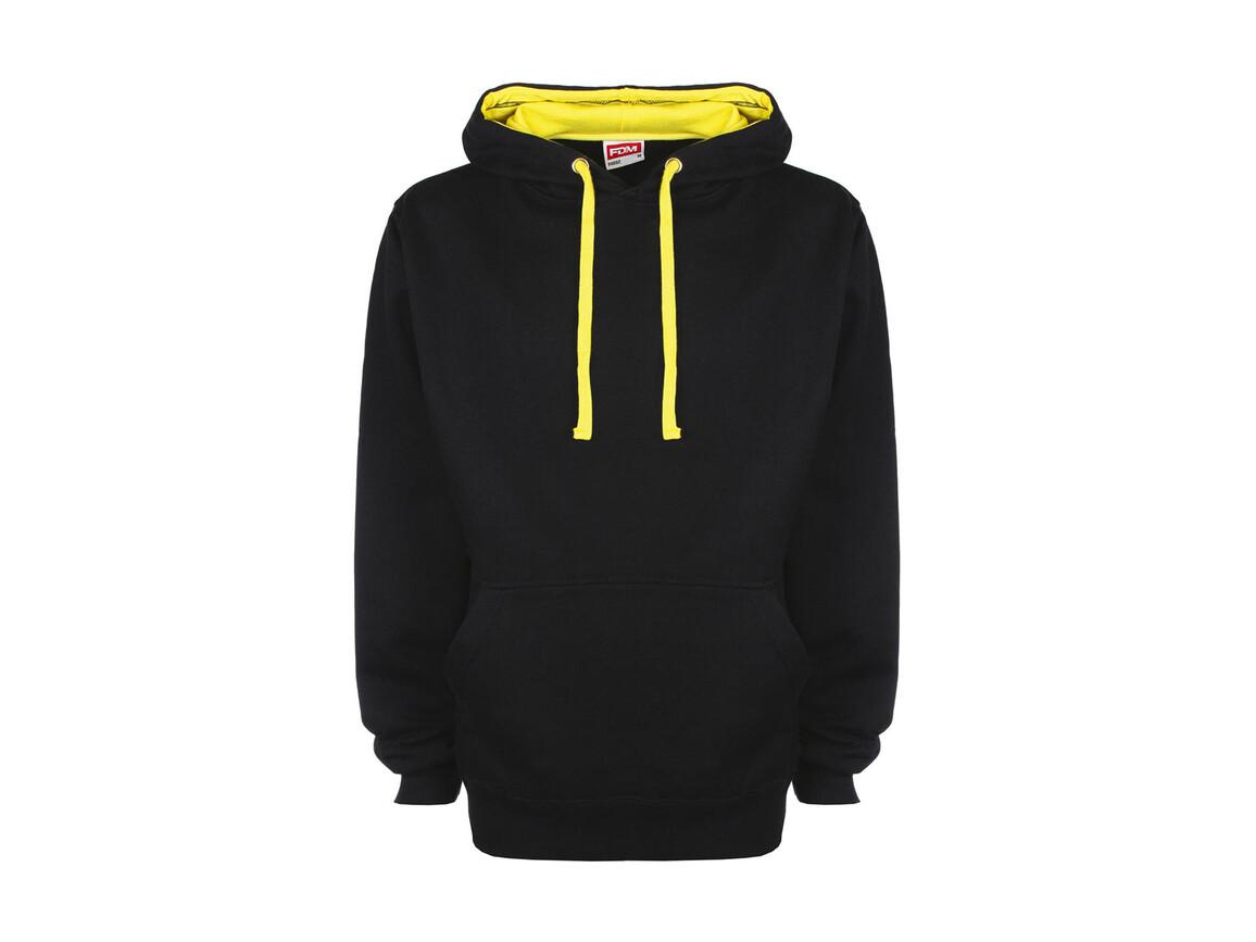 FDM Contrast Hoodie, Black/Empire Yellow, 2XL bedrucken, Art.-Nr. 281551657
