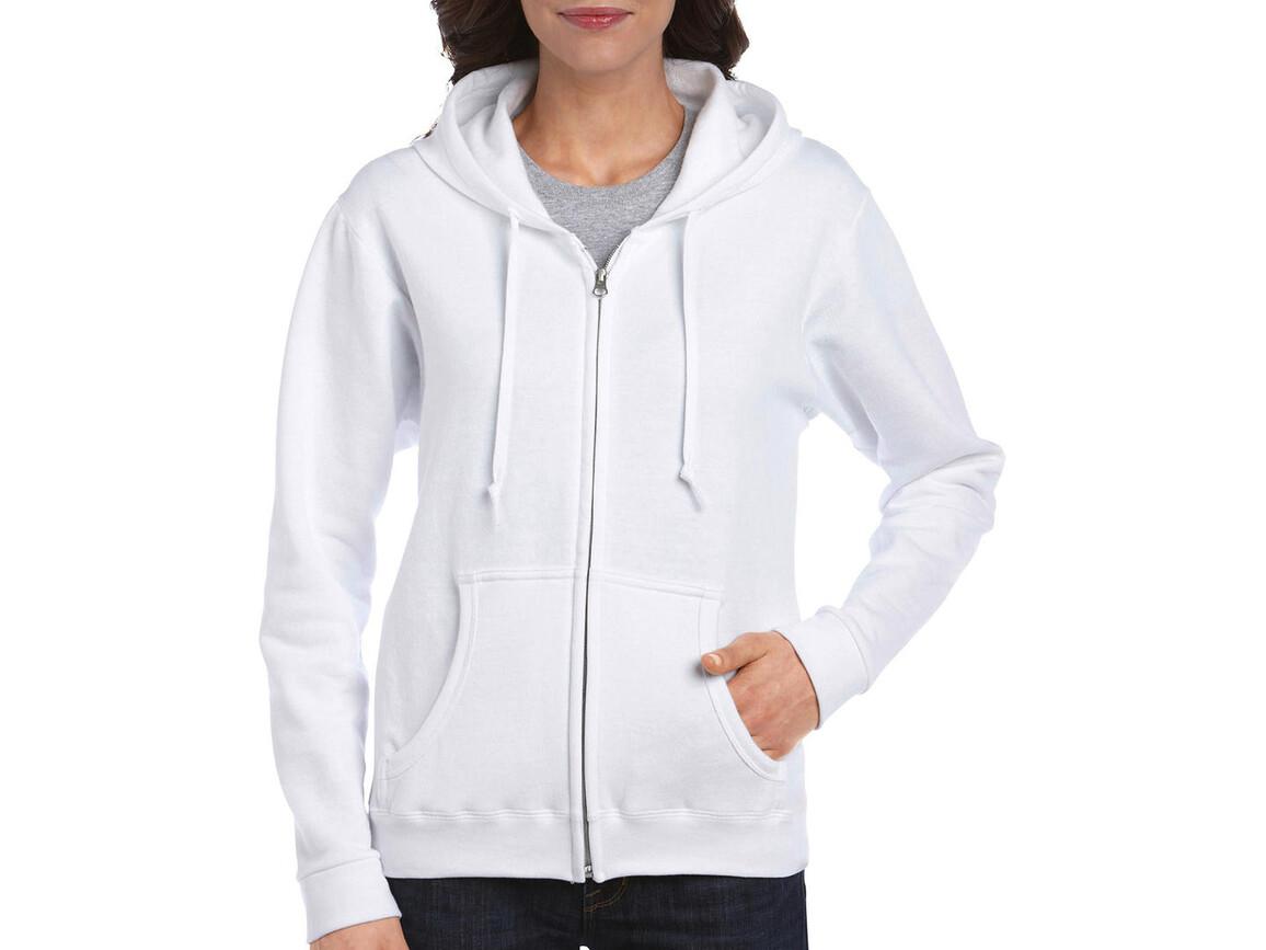 Gildan Ladies Heavyweight Full Zip Hooded Sweat, White, S bedrucken, Art.-Nr. 282090003
