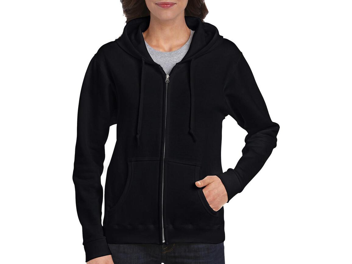 Gildan Ladies Heavyweight Full Zip Hooded Sweat, Black, 2XL bedrucken, Art.-Nr. 282091017