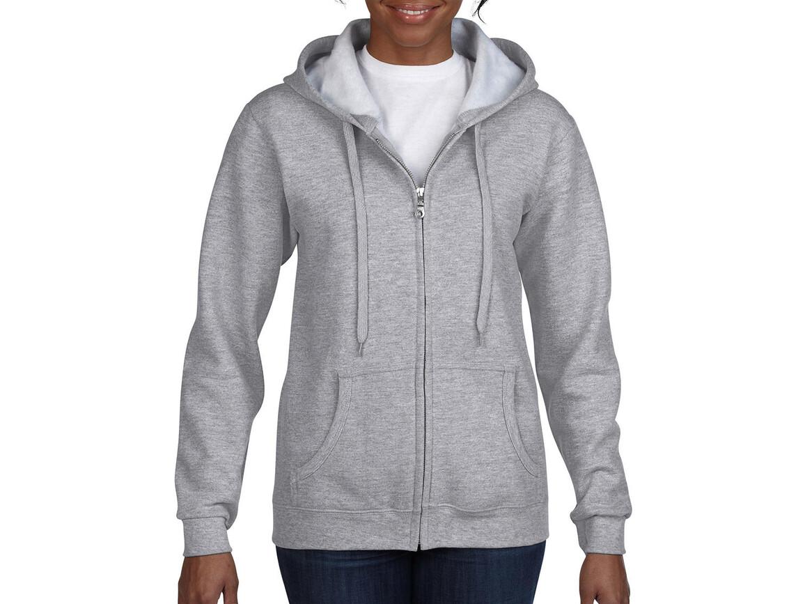 Gildan Ladies Heavyweight Full Zip Hooded Sweat, Sport Grey, S bedrucken, Art.-Nr. 282091253