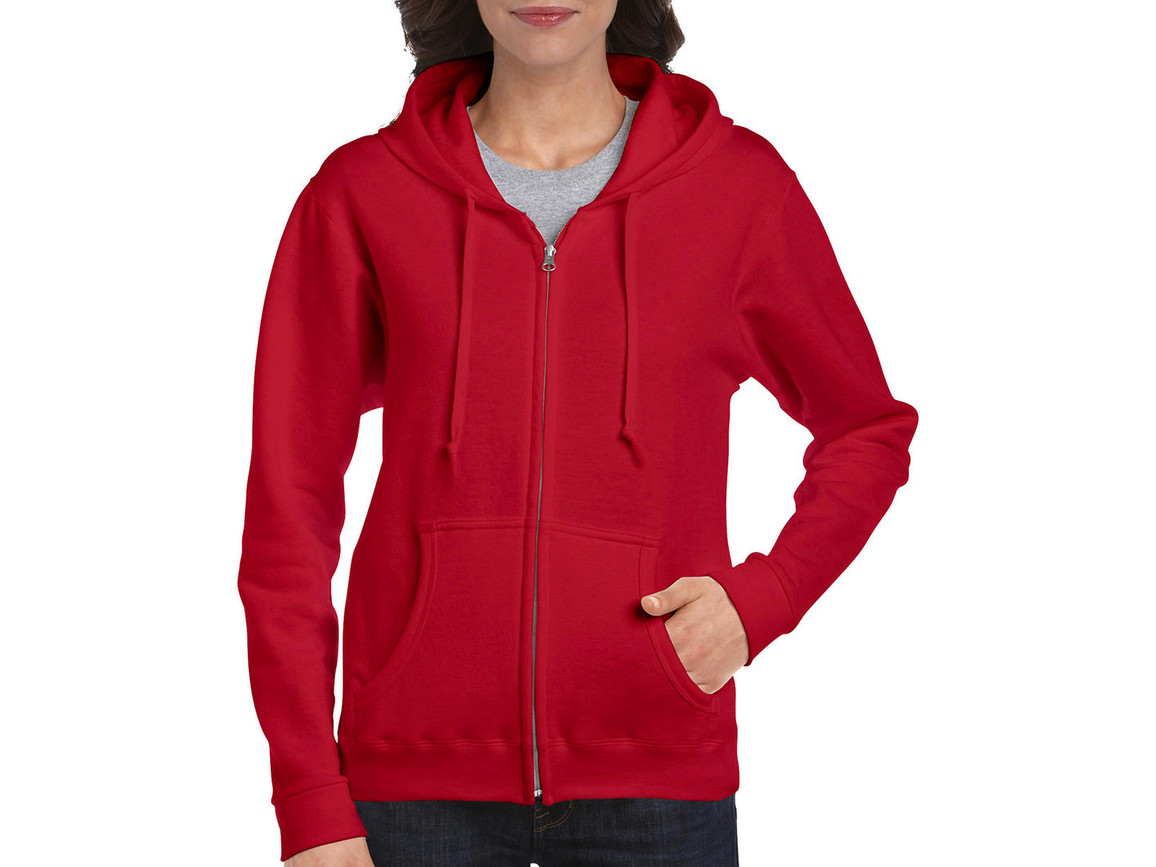 Gildan Ladies Heavyweight Full Zip Hooded Sweat, Red, 2XL bedrucken, Art.-Nr. 282094007
