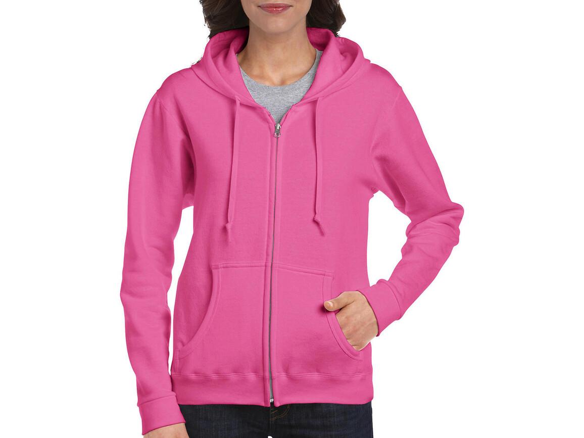Gildan Ladies Heavyweight Full Zip Hooded Sweat, Azalea, S bedrucken, Art.-Nr. 282094253