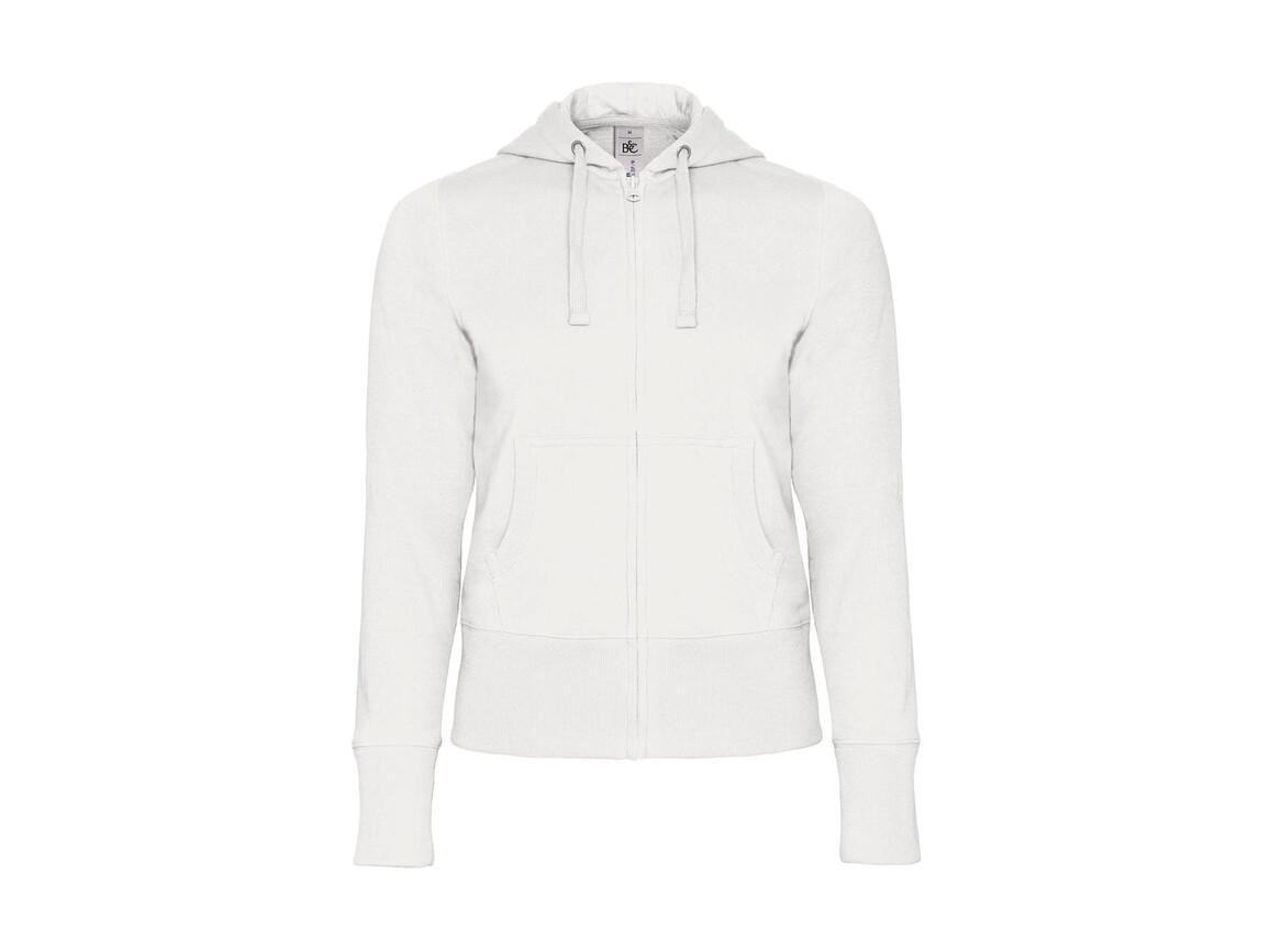 B & C Hooded Full Zip/women Sweat, White, M bedrucken, Art.-Nr. 283420004