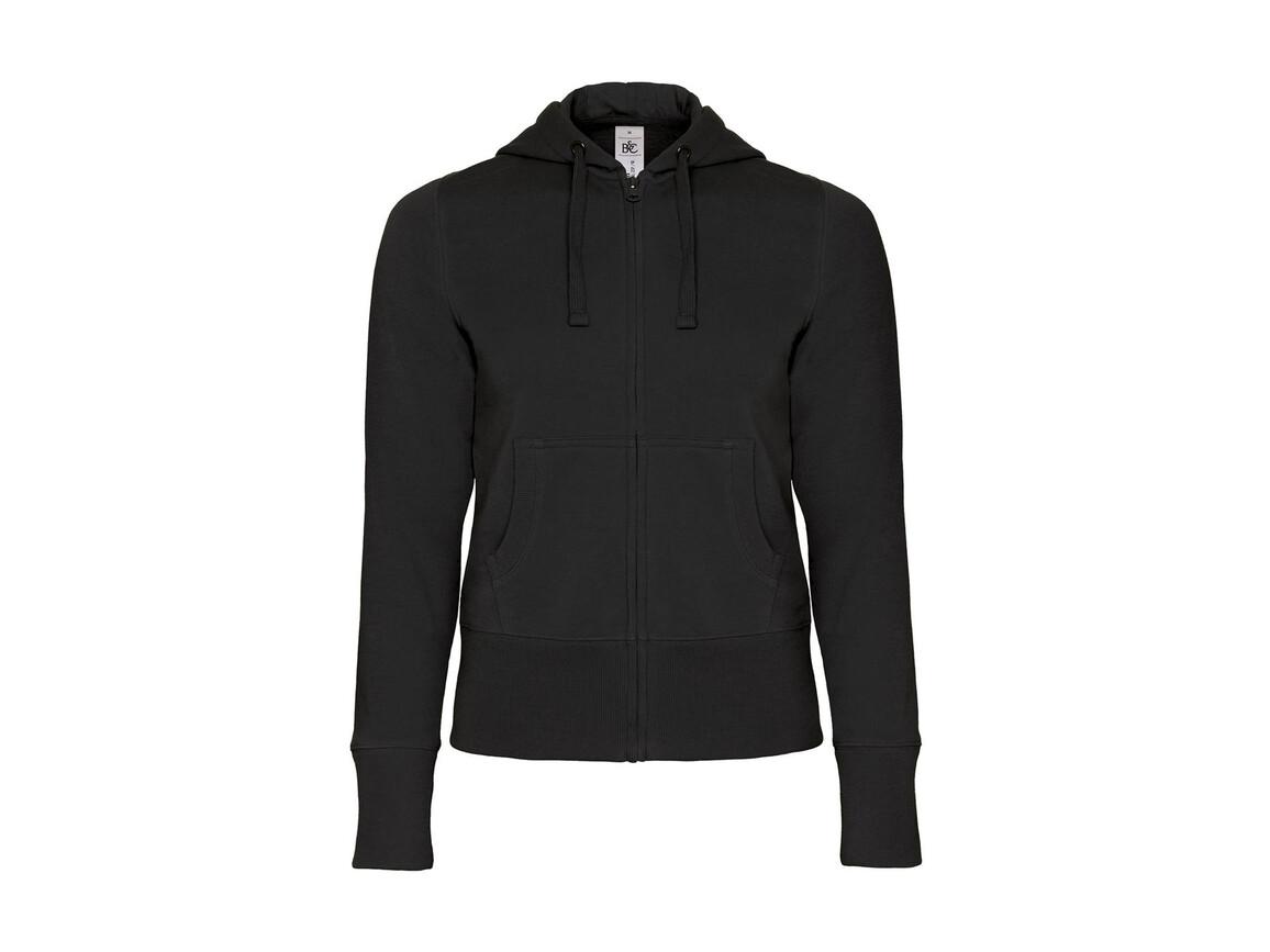 B & C Hooded Full Zip/women Sweat, Black, M bedrucken, Art.-Nr. 283421014