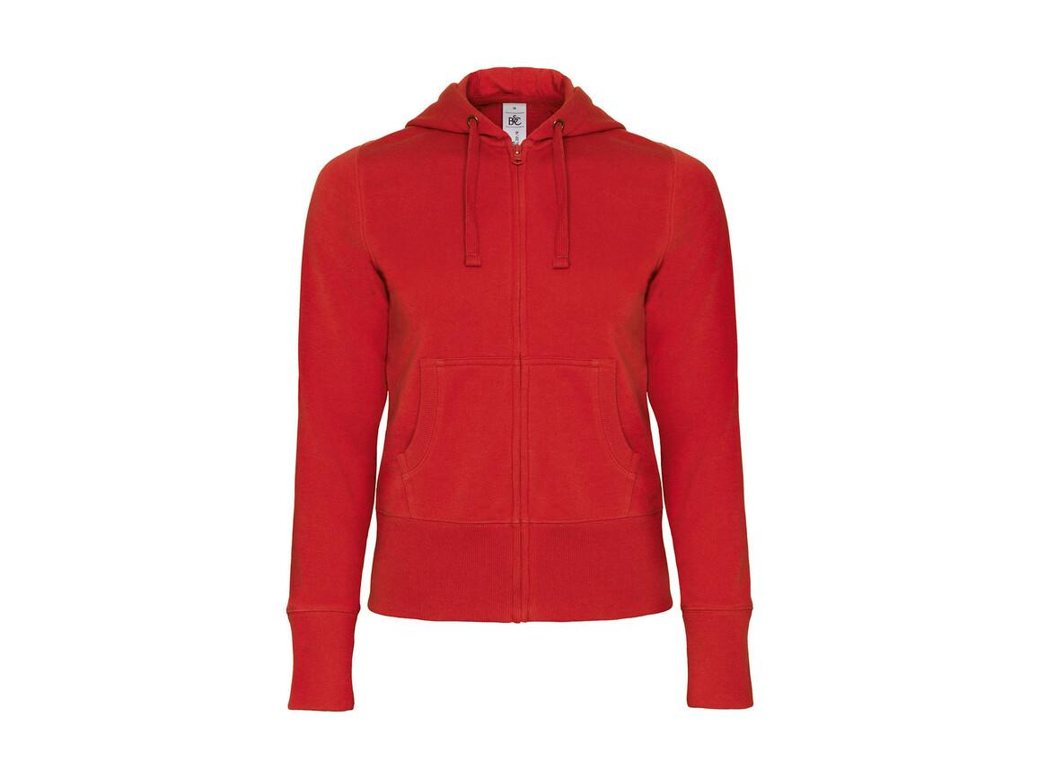 B & C Hooded Full Zip/women Sweat, Red, XS bedrucken, Art.-Nr. 283424002