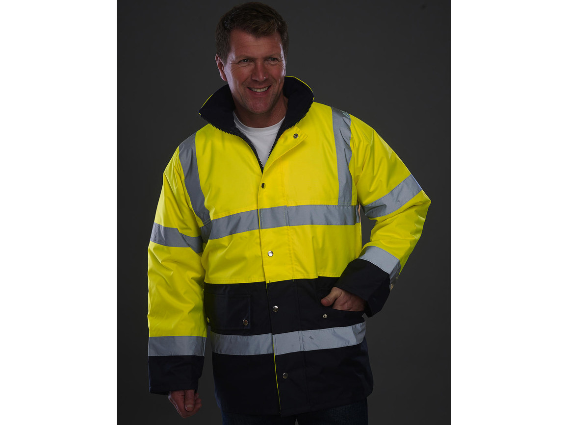 Yoko Fluo 2 Tone Motorway Jacket, Fluo Yellow/Navy, 2XL bedrucken, Art.-Nr. 410776525