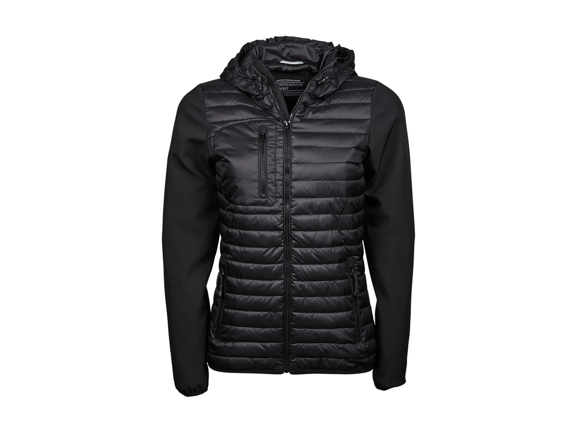 Tee Jays Ladies` Hooded Crossover Jacket, Black, S bedrucken, Art.-Nr. 424541013