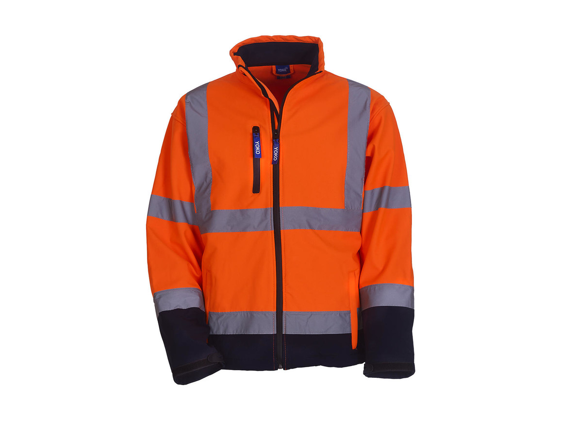 Yoko Fluo Softshell Jacket, Fluo Orange/Navy, XL bedrucken, Art.-Nr. 427774526